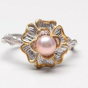 🌸Pink Pearl Floral Cocktail Ring